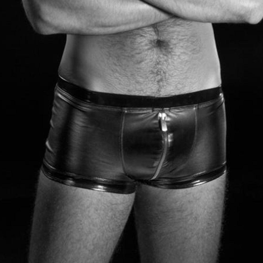 Mens Exotic Apparel Set Pouch-Short RALF Zippers Mens Panties Underwear Men Boxers Shorts Vinyl Underwear Lingerie Black Pants