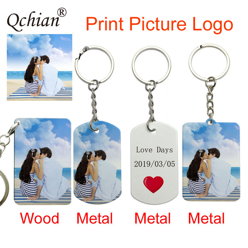 Custom Picture Text Decoration Pendant Stainless Steel Metal Memorial Gift Awesome holiday Gift Designed by Your Own Keychain