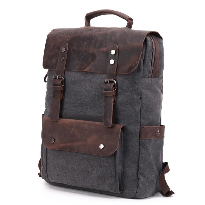 Wodoodporne płótno plecak vintage mężczyźni duża podróż plecak na laptopa torba prawdziwa skóra bydlęca skórzany plecak studentów szkoły Bookbag w Plecaki od Bagaże i torby na  Grupa 2