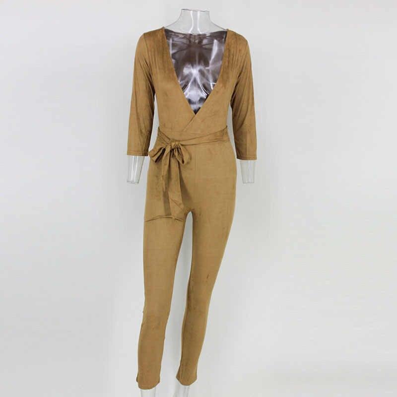 NATTEMAID 2017 женские сексуальные комбинезоны коричневые замшевые цельные наряды глубокий v-образный вырез длинный рукав облегающие длинные штаны женские коричневые комбинезоны