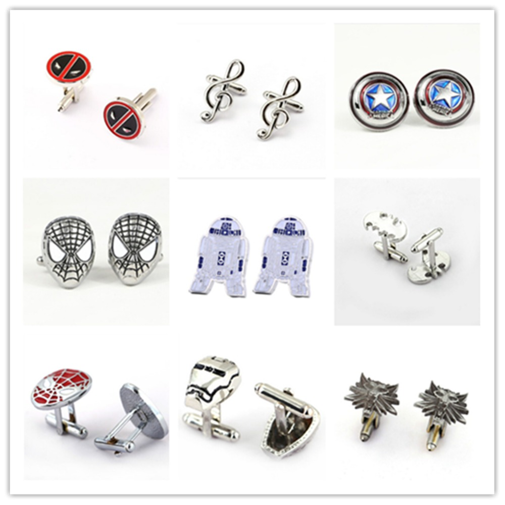 Jewelry Sets & More Tie Clips & Cufflinks Hsic Fashion Cufflink Super Hero Superhero Star Wars Cuff Link Men Shirt Flash Captain America Zinc Alloy Cuff Buttons Wholesale