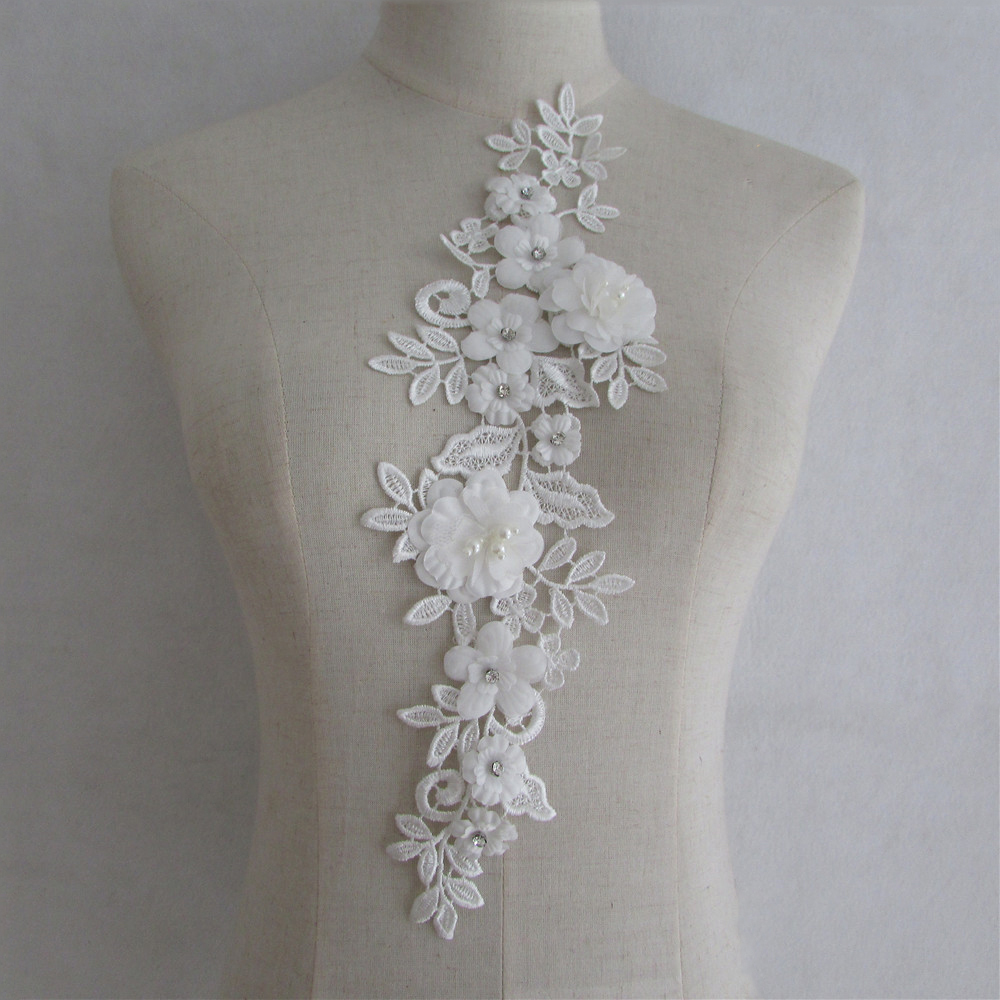 Lot of 10 White Floral Venise Venice V-neck Applique Neckline Collar USA Shipper