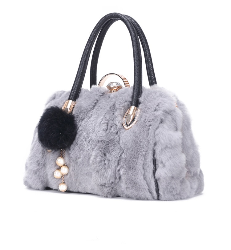30888  New Fashion Winter Handbag Women Shoulder Bag Rabbit Fur Messenger Bag Real Fur Lady Totes Bag 2017 winter new clothes to overcome the coat of women in the long reed rabbit hair fur fur coat fox raccoon fur collar