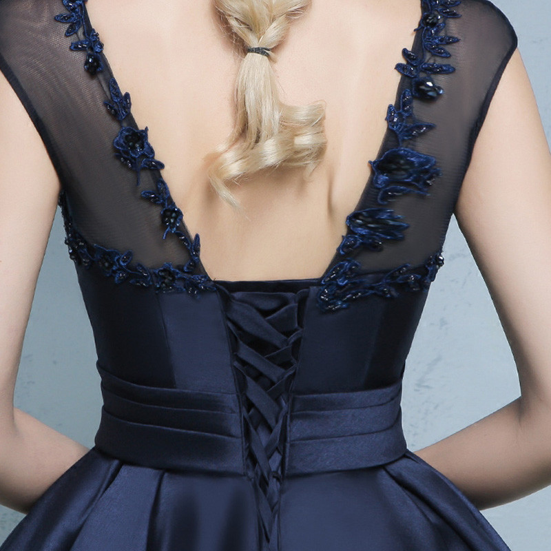 Elegant Satin Navy Blue Sleeveless Cocktail Dress 5