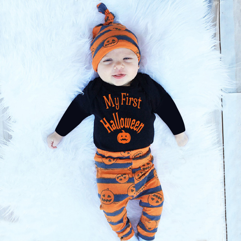 3Pcs Holloween Newborn Baby Boys Girls Clothes Outfit Set Cotton Long Sleeve Romper+Pants+Hat Infant Toddler Baby Clothing