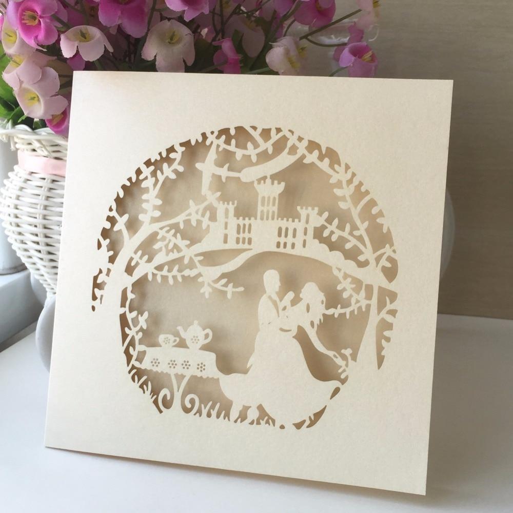 50pcs Handmade Folded Wedding Invitations Card Vintage Decoration
