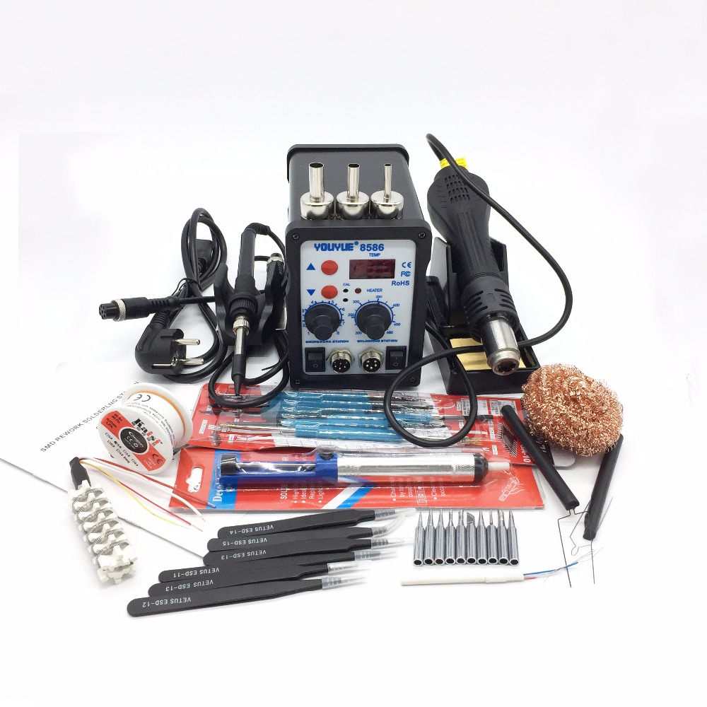Original EU/US 220V/110V 700W Soldering Station YOUYUE 8586 2 in 1 SMD Rework Station Hot Air Gun + Electric solder iron Station 8586 2 in 1 esd soldering station smd rework soldering station hot air gun set kit welding repair tools solder iron eu 220v 110v
