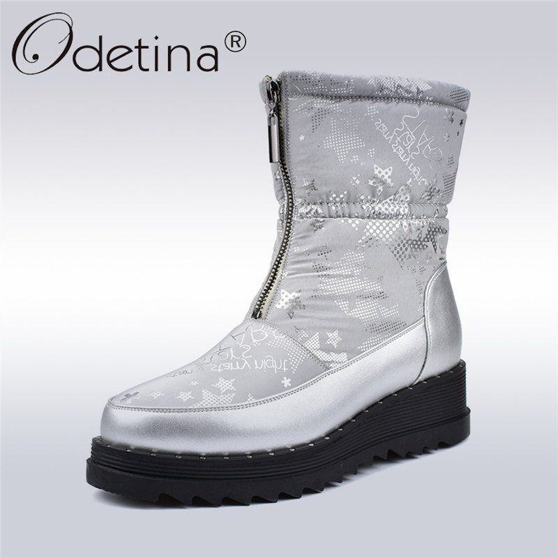купить Odetina Winter Down Snow Boots For Women Wedge Heel Platform Fashion Print Infront Zip Female Ankle Boots Thick Plush Warm Shoes по цене 2551.65 рублей