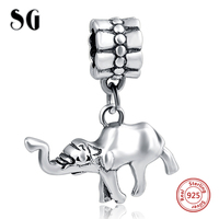 Silver Galaxy Elephant Pendant Fit Authentic Pandora Charm Bracelet Sterling Silver 925 Original Animal Beads For
