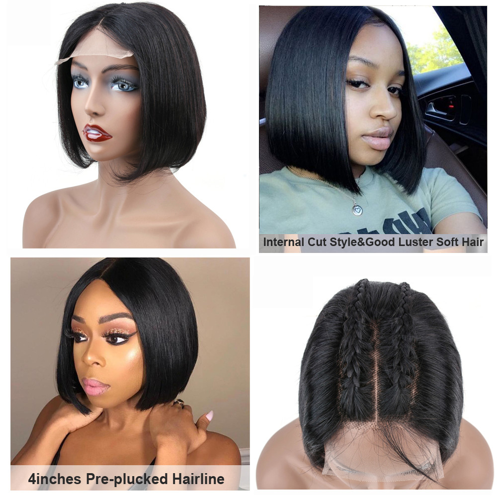 Short Bob Wigs Peruvian 100 Remy Hair Can Be Dyed Lace Front Human Hair Wigs Pre