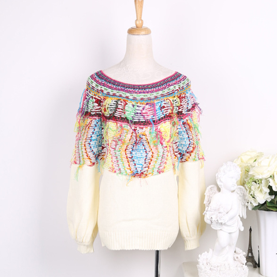 New Winter Fashion Colorful Pattern Tassel Sweater Pullover Women O ...