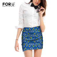 FORUDESIGNS New Spring Women S Skirt Slim Hip Skirt Fashion Printed Skirts Mini Skirt Peacock Feathers