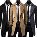 Hombres Otoño Invierno Delgado Cruzado Capa de Foso Larga Chaqueta Outwear La Moda de Estilo Británico