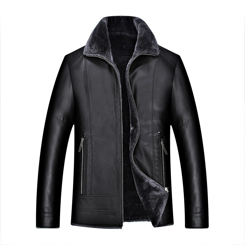 2017 Men leather jackets New arrival Winter brand plus Velvet thick Warm Motorcycle Business Casual Mens Leather Jackets coats