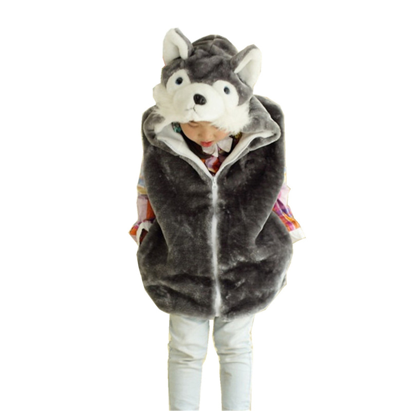 DOUBCHOW Kids Girls Dzīvnieku Vest Bērni Wolf Cute Cartoon Bezpiedurkņu Hoodie Ziemas Hooded Girls Warm Outwear Mētelis Fleece Inside