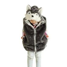 DOUBCHOW Kids Girls Animal Vest Children Wolf Cute Cartoon Sleeveless Hoodie Winter Hooded Girls Warm Outwear Coat Fleece Inside