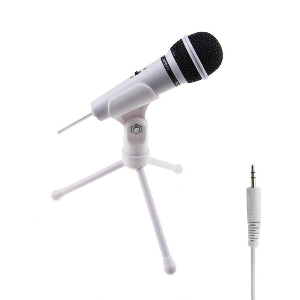 3.5mm Wired Microphone Condenser With Tripod Gaming Recording Microphones for PC Online Chat GDeals