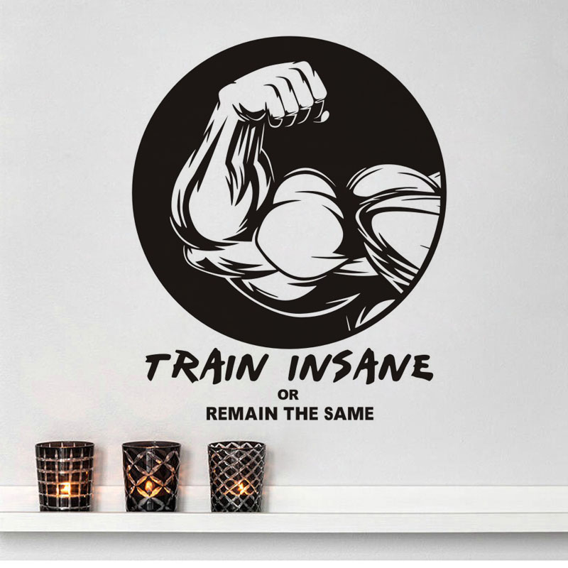 Fitness Gym Brawny Arms Vinyl Wall Sticker Train Insane or Remain The Same Quotes Wall Decal Sports Lifestyle Work Out Art Mural