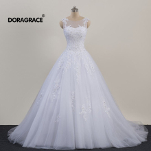 Doragrace vestidos de noiva Applique Beaded Lace-Up Tulle A Line Wedding Dresses