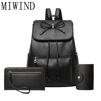MIWIND 3 pièces/ensemble femmes sac à dos pour adolescentes sacs d'école sac à dos sac à dos en cuir PU sac à dos pour femme sac à bandoulière T346