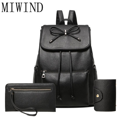 MIWIND 3Pcs/Set women Backpack For Teenage Girls School Bags Rucksack Back Pack PU Leather Backpack for female shoulder bag T346 new printing pu leather backpack women shoulder rucksack university bags for teenage girls designer brand korean femme