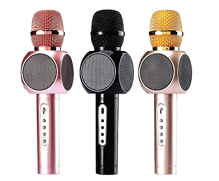 Portable Wireless Microphone Built in Bluetooth Speaker and Mini Handheld Cellphone Karaoke Audio in out MP3 Player battery