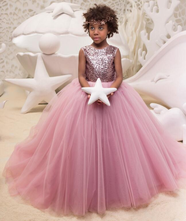 Flower Girl Dresses With Bow Sequins Buttons 3D Flowers Ball Gown First Communion Dress for Girls Customized Vestidos Longo цены онлайн