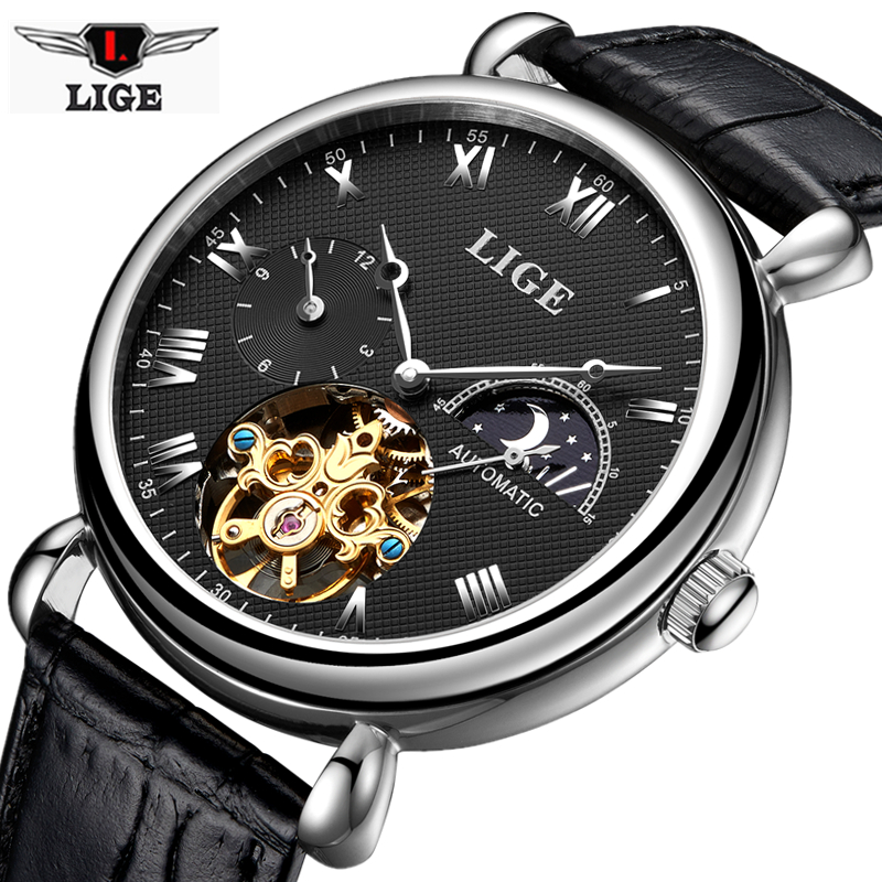 Mens Watches Top Brand Luxury LIGE Watch Sport Tourbillon Automatic Mechanical Leather Waterproof Wristwatch Relogio Masculino yes zee by essenza шарф