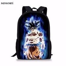 INSTANTARTS Fashion Children Anime Backpack Cool Dragon Ball Super Blue Character Son Goku Vegeta Printing School Bags for Boys