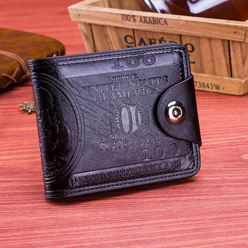 Men Vintage Wallet PU Leather Dollar Pattern Designer Men's Wallets Casual Credit Card Holder Purse Wallet For Male Money Bag (8)