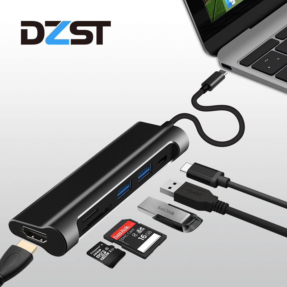 DZLST USB C 3.1 Type C to USB 3.0 /HDMI/ SD TF Card Reader/PD USB HUB 6 in 1 USB C Adapter 1080P 60Hz/4K 30Hz for MacBook Pro ssk scrm 060 multi in one usb 2 0 card reader for sd ms micro sd tf white