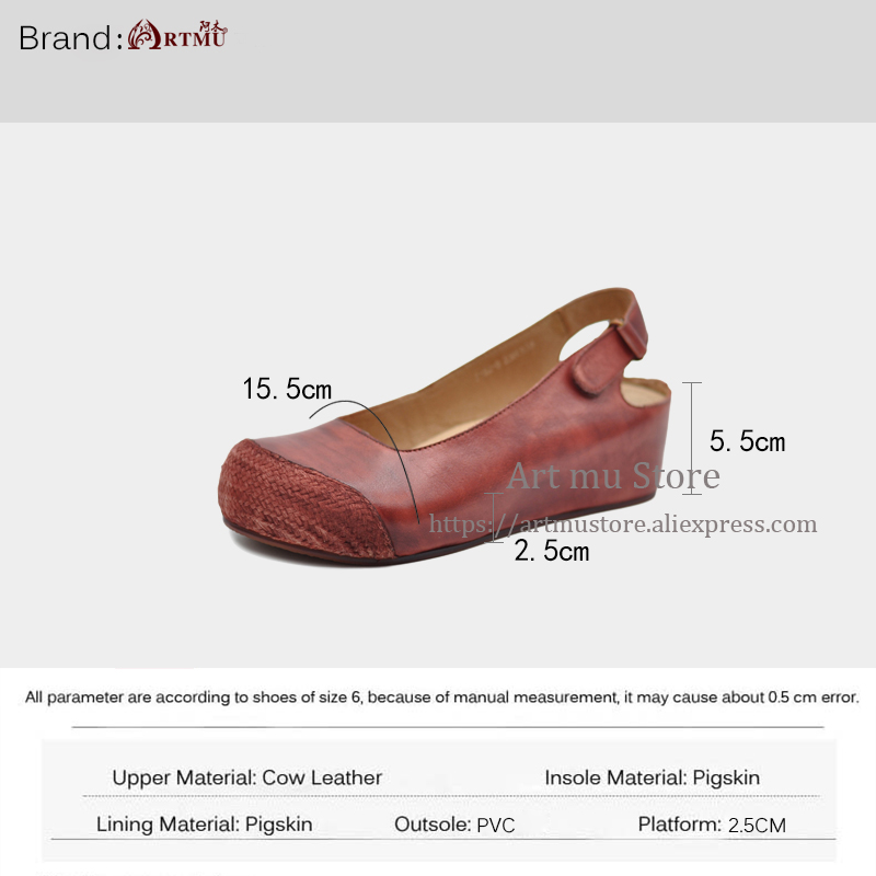 Artmu Original Korean Style Thick Sole Wedges Heels Women 39 s Sandal Retro Hemp New Spring Genuine Leather Handmade Sandals J182 9 in Middle Heels from Shoes