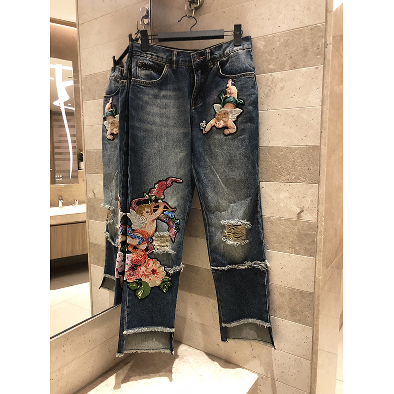 Для женщин Mid rise вышитые джинсы без морщин Ангел цветочный цветы промывают и натирают Daning