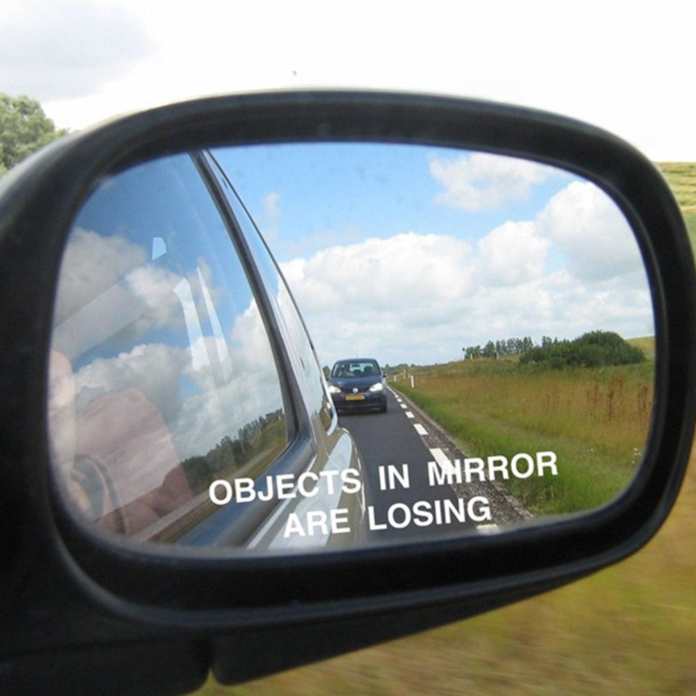 1Pair Car Rear View Mirror Warning Stickers Set OBJECTS IN MIRROR ARE LOSING Pattern Car Sticker Reflective Waterproof Stickers