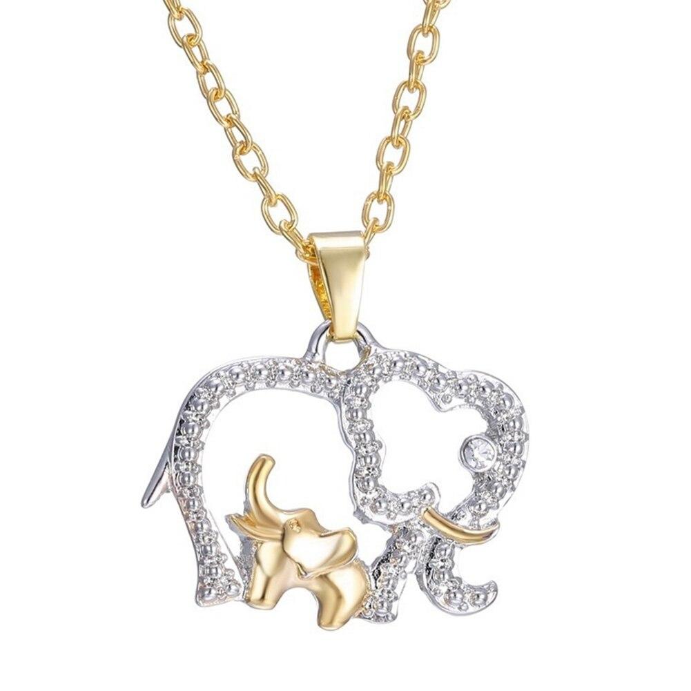 Cadeau de fête des mères créatif mignon Animal Double éléphant pendentif collier bijoux