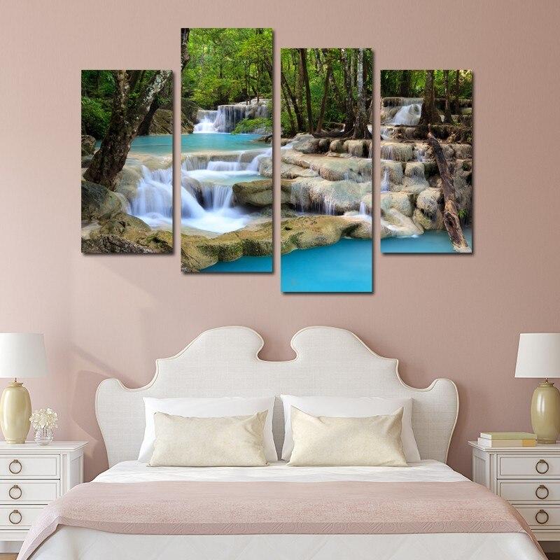 4 panely vodopád krajiny a high-definition velkoformátové tiskové plátno obývací pokoj domácí dekorace jedinečný dárek zeď obrázek