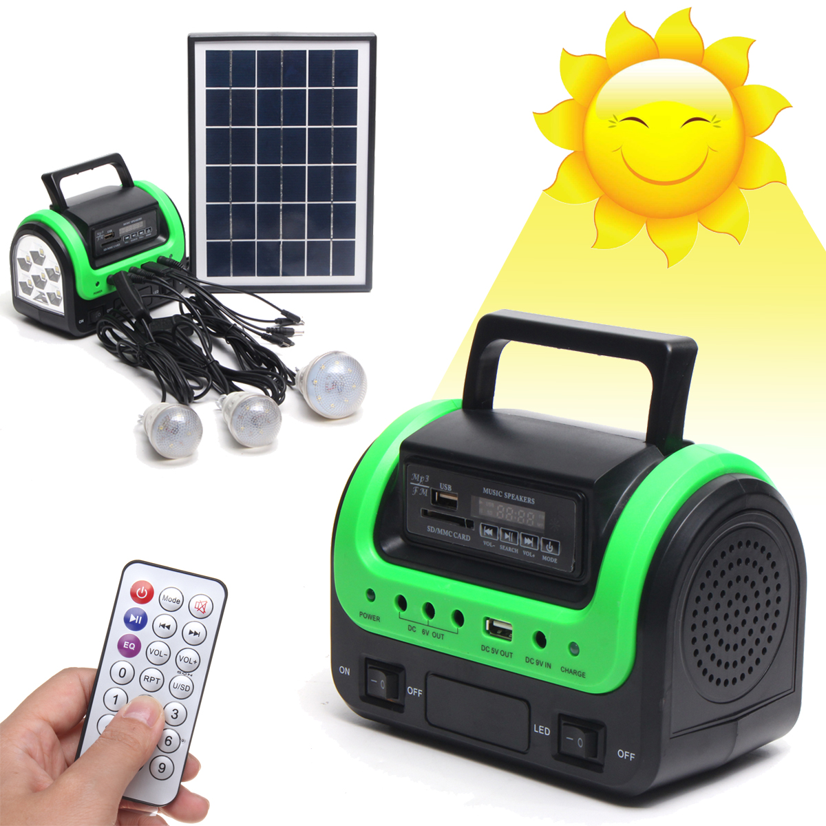 Home Outdoor Lighting Portable LED Solar Panels Charging Generator Power System Support USB Disk/SD Card/FM Function+RC solar panel power storage generator system led light usb charger portable home outdoor led lighting system support fm radio