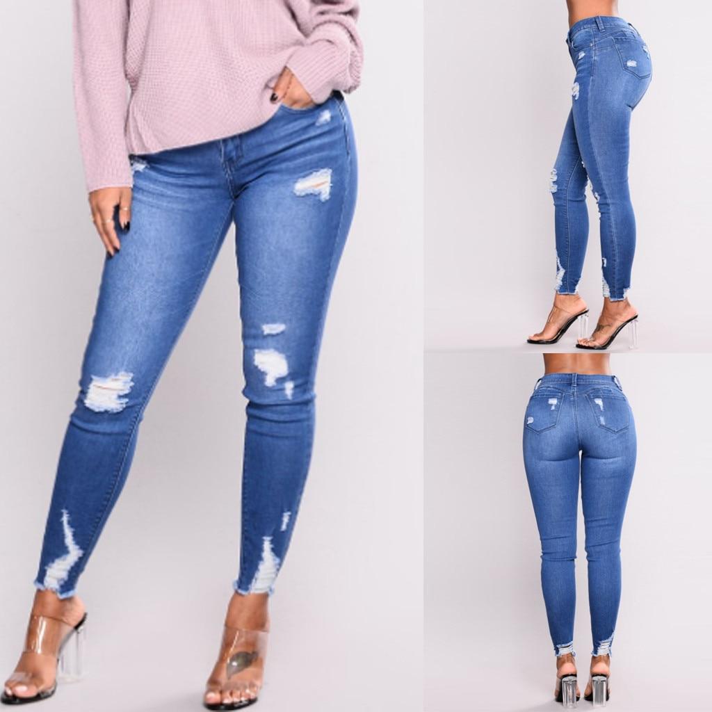 2019 Fashion Womens Slim Fit Printed Denim   Jean   Slim Skinny Tight Pants Stretch Leg trousers for women female pants clothe
