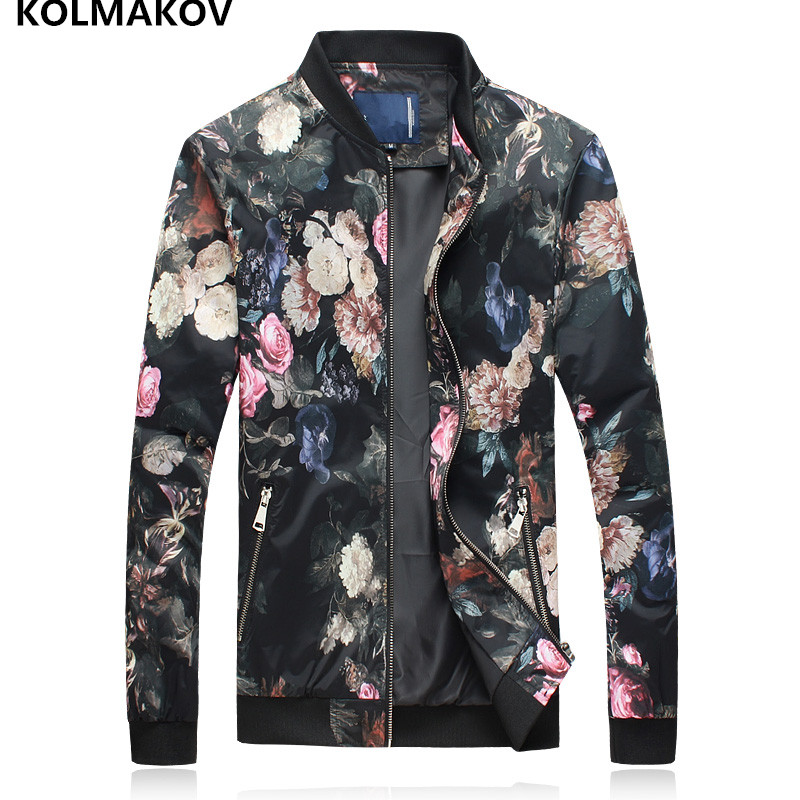 2019 Fashion Casual Floral Printed Bomber Jacket Masculino Spring Windbreaker Homme Slim Fit Overcoat Zipper Jackets Man M-5XL
