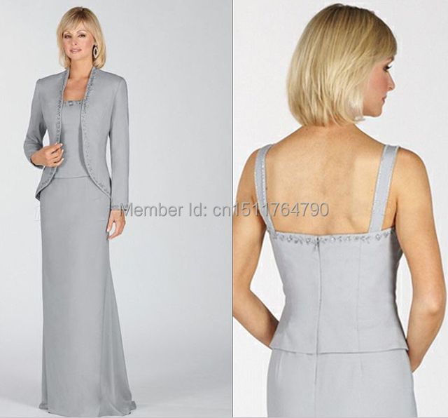Silver Mother Of The Bride Dresses With Jacket A Line Chiffon Beading Grandmother Evening Dress