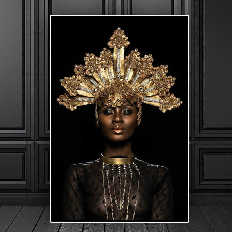 Abstract Gold Crown Black African Woman Oil Painting on Canvas Posters and Prints Decoracion Wall Art picture Living Room Wall