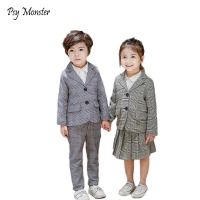 School uniform Dress for boys Girls Formal Birthday Suits for Weddings Blazer Pants Skirt 2Pcs Kids Gentleman Clothing Sets S14