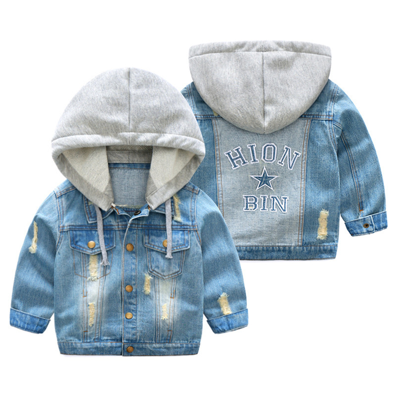 New Fashion Boys Girls Hole Denim Jackets Kids Clothing Spring Autumn Children Outwear C ...