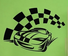 Race Car Vinyl Wall Decal Racing Car Motorsports Chequered Flag Mural Art Wall Sticker Boys