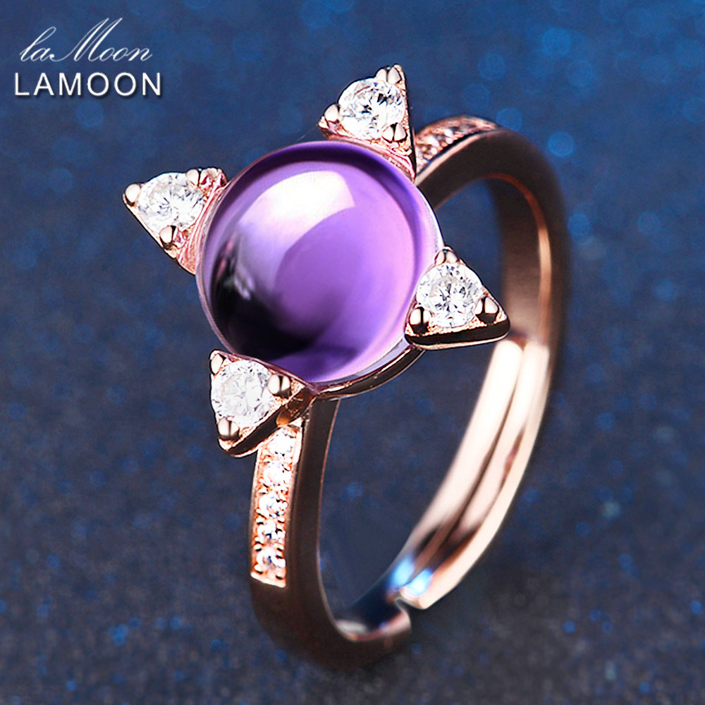 LAMOON Cross star 2.2ct Natrual Amethyst 925 sterling-silver-jewelry Rose Gold Jewelry Set Earring Ring S925 For Women V009-4 esveva 2017 women fashion boots pu punk shoes square high heel ankle boots round toe women platform motorcycle boots size 34 42