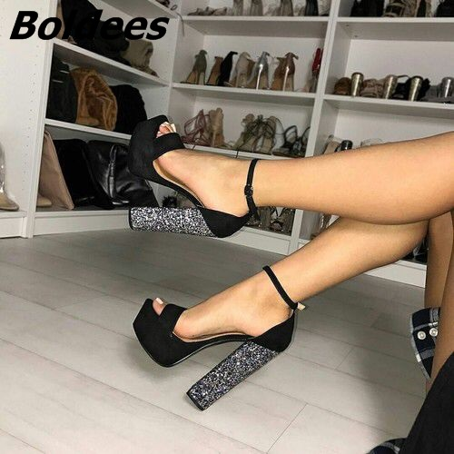 Chic Black Suede Chunky Heel Platform Sandals Sexy Line Buckle Style Open Toe Glittery Sequins Decorated Block HeelDress Sandals trendy women s sandals with sequins and chunky heel design