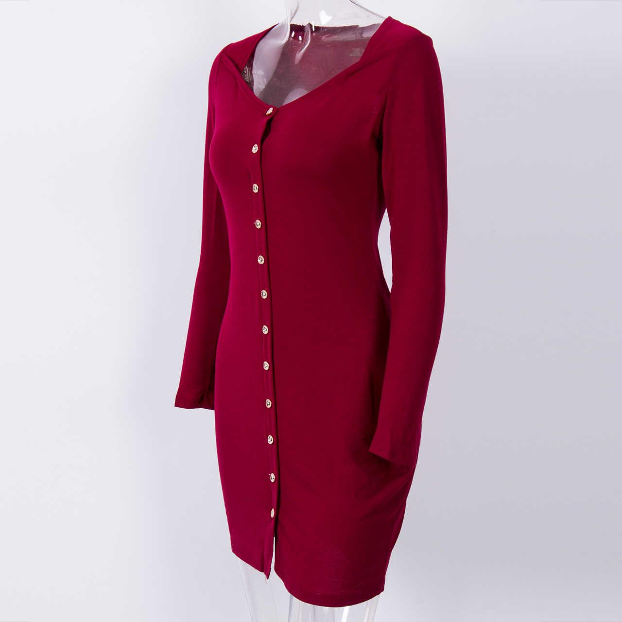 Kadın Bandaj düğme Bodycon Ince Uzun Kollu O boyun Akşam Parti Kalem Mini Elbise vestidos elbiseler kadınlar için