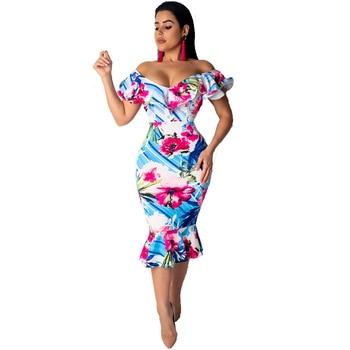 be97df4ab6c Женское платье с принтом v-образный вырез 2019 весенние повседневные ...