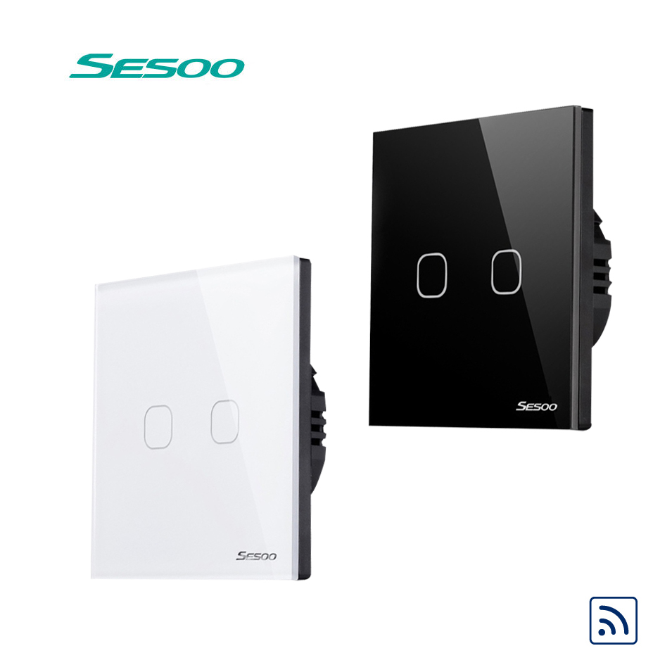 EU Standard SESOO Remote Control Switch 2 gang 1 Way,RF433 Smart Wall Switch,Wireless RF Touch Light Switch,No Remote Controller sesoo eu uk standard 1 gang 1 way rf433 remote control touch wall switch wireless remote control light switches for smart home