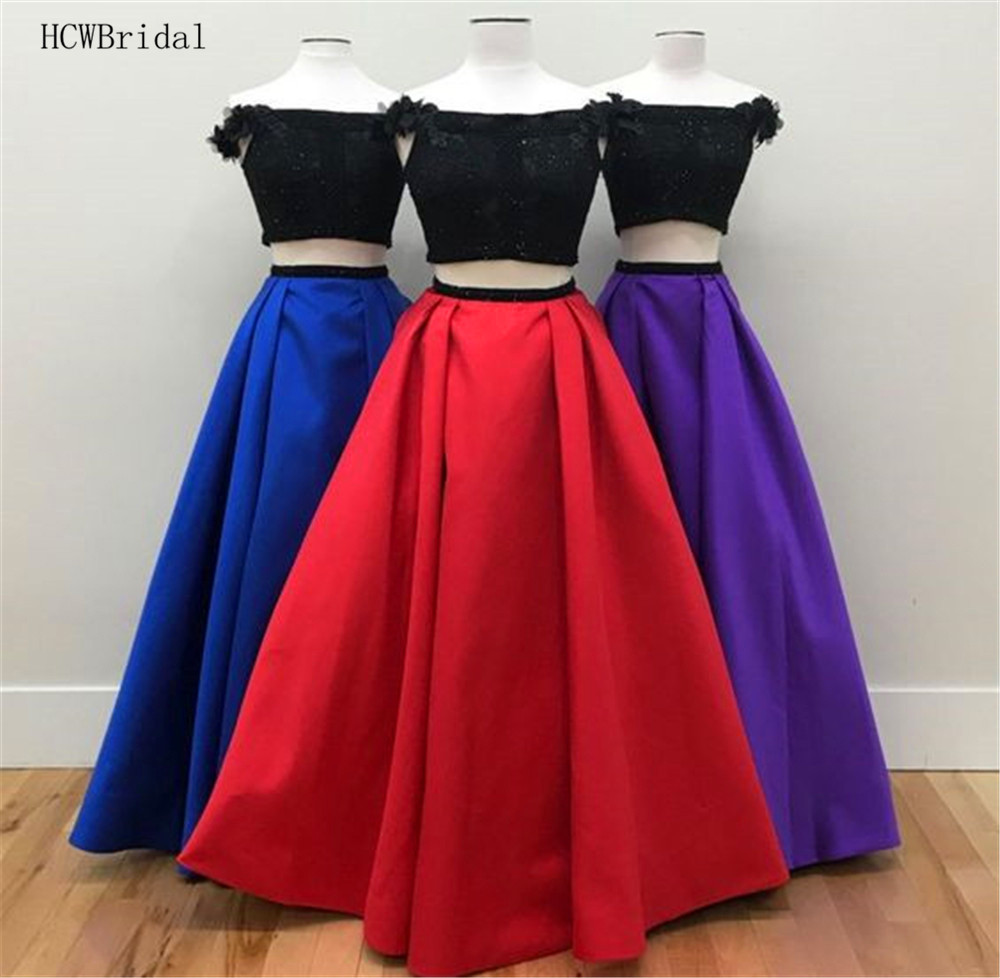New 2019 Two Piece   Prom     Dresses   Red/Royal Blue Satin Flowers Boat Neck A Line Long Evening Gown Custom Made Occasion Women   Dress